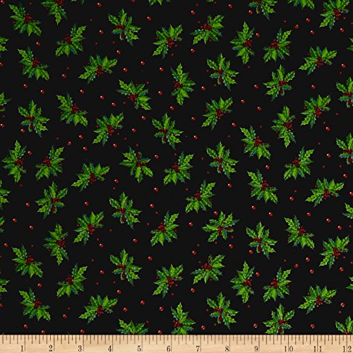 Santee Print Works Christmas Holly Allover Black Fabric by The Yard,