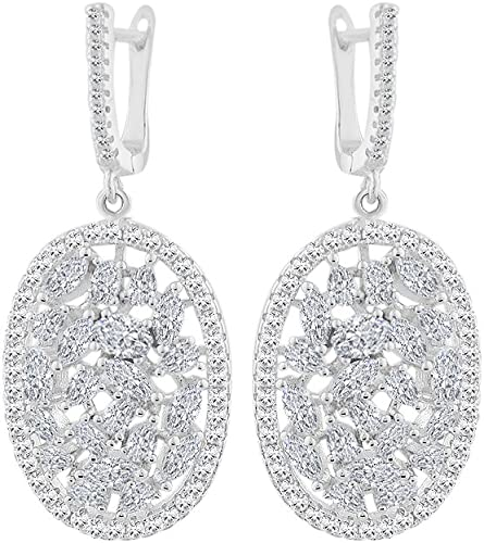 Black White Diamond Alternatives Leverback Dangle Earrings 14k Gold over 925 SS