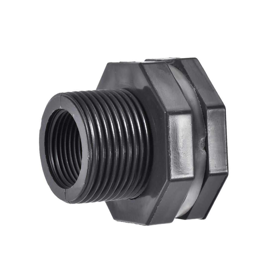 G1 Female Lengthen Gray Tube Adaptor Pipe Fitting with Silicone Gasket Pack of 2 for Water Tanks PVC uxcell Bulkhead Fitting
