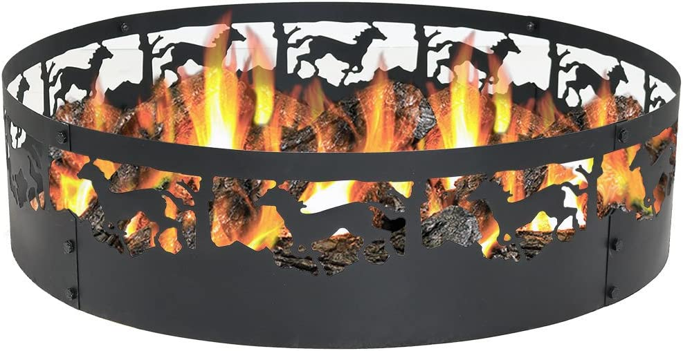 Sunnydaze Running Horse Fire Pit 36 Inch Wood Burning Campfire Ring Large Round Outdoor Fireplace Heavy Duty 0 91mm Thick Metal Firepit High Temperature Paint Amazon Ca Home Kitchen