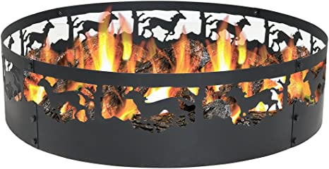 Sunnydaze Running Horse Fire Pit 36 Inch Wood Burning Campfire Ring Large Round Outdoor Fireplace Heavy Duty 0 91mm Thick Metal Firepit High Temperature Paint Amazon Ca Patio Lawn Garden