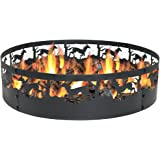 Sunnydaze Running Horse Fire Pit Campfire Ring, Large Outdoor Heavy Duty Metal Wood Burning Firepit, 36 Inch