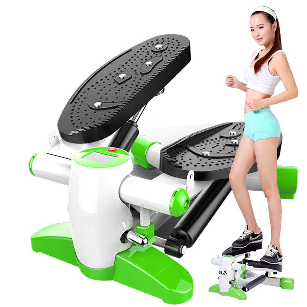 Large Non-Slip Foot Plates and LCD Monitor,Upgraded Quality Steel,Green GFEI Silent Movement Stepper with Hydraulic Resistance
