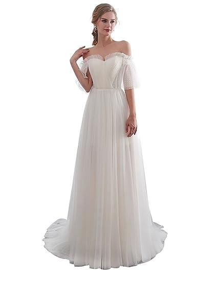 45a7ee89a40c7 Aurora Bridal Women's Sweetheart 2018 Beach Wedding Dress Long Short ...