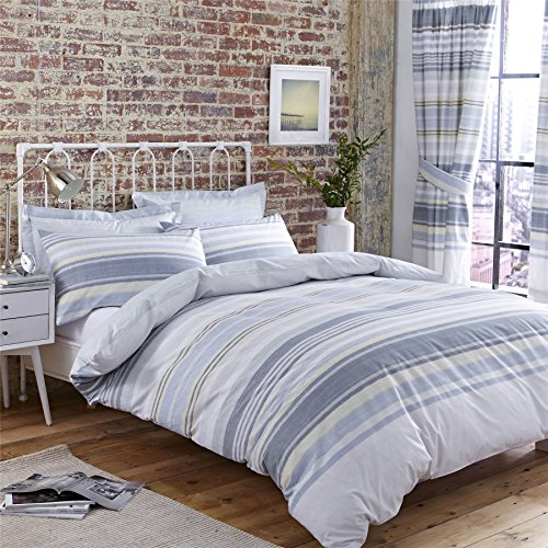 HORIZONTAL TEXTURED STRIPE BLUE USA FULL (200CM X 200CM - UK DOUBLE) COMFORTER COVER SET & LINED PENCIL PLEAT CURTAINS DRAPES (Nevada Set Comforter)