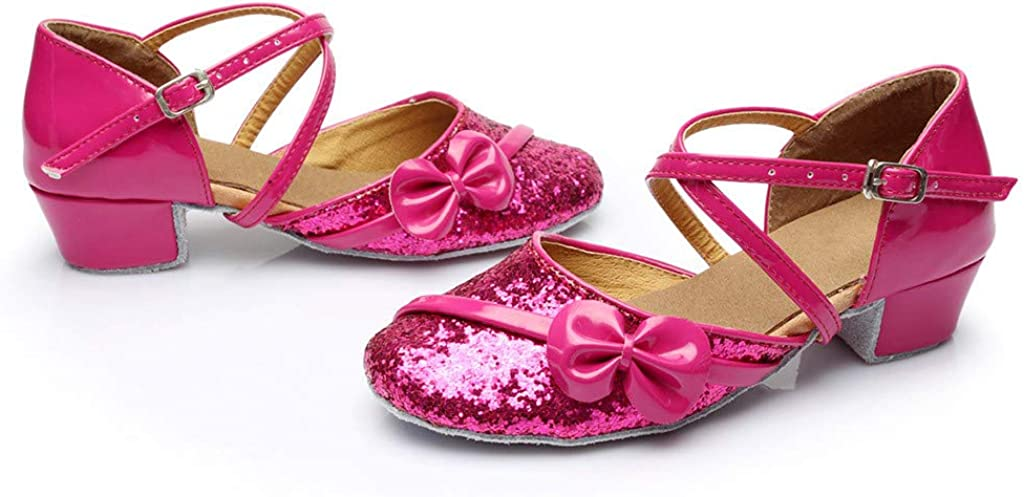 Little Kids Baby Girls Dancing Tango Latin Sequins Bow-knot Sandals Princess Shoes Slip On Ballroom Party Open-Toe Flat Boots