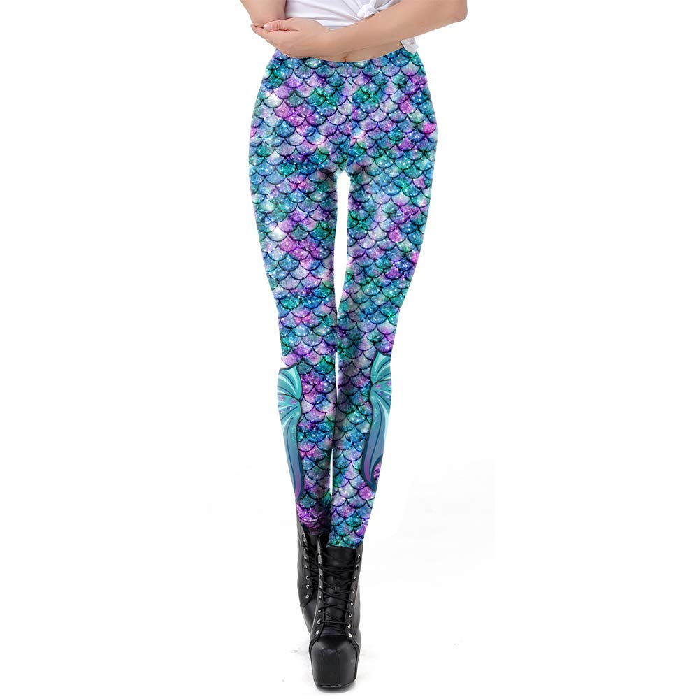 Popuid Rainbow Women Mermaid Leggings Yoga Pants High Waist Fish Scale Leggings