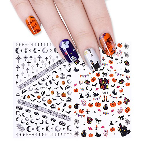 CoulorButtons 7 Sheets Halloween Owl Skull Pumpkin Ghost 3D Nail Sticker Nail Art Transfer Decor (Halloween Nail Stickers Uk)