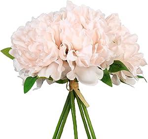 SN Decor 5 Heads Artificial Peony Silk Flower Fake Hydrangea Flowers Home Bridal Wedding Party Festival Bar Decoration, Pack of 1 - (New Blush)