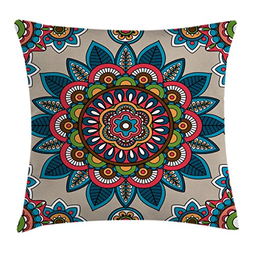 Ambesonne Mandala Decor Throw Pillow Cushion Cover by, Retro Turkish with Unique Leaf Flower Figures Meditation Ritual Tribal Art Print, Decorative Square Accent Pillow Case, 24 X 24 Inches, Multi