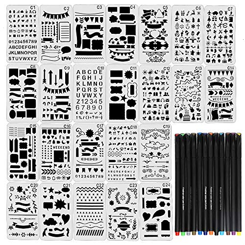 (JPSOR Stencil Supplies, 24 Painting Stencils and 12 Colored Fineliner Pens,DIY Drawing Templates Plastic Planner Stencils for Journal, Notebook, Diary, Scrapbook)