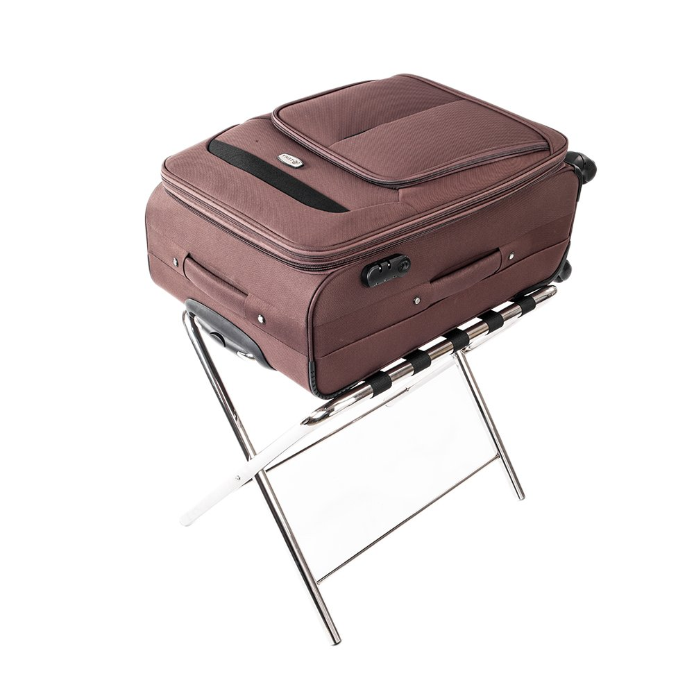 Luggage Rack,Portable Stainless Steel Stand Suitcase Organization Shelf & 5 Nylon Belts for Home Bedroom Guestroom Hotel Rooms Silver