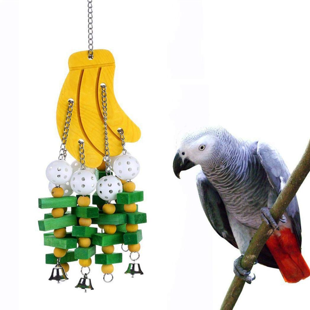 Loneflash Bird Chewing Toy -for Physical & Psychological Well-Being of Your Parrots - Nibbling Keeps Beaks Trimmed - Preening Keeps Feathers Clean - Multicolored Wooden Blocks Attract Pet's Attention by Loneflash Bird Chewing Toy