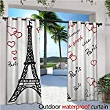 covered patio ideas Eiffel Tower Outdoor- Free Standing Outdoor Privacy Curtain Eiffel Paris is Always a Good Idea Tourism Locations Love Valentines for Front Porch Covered Patio Gazebo Dock Beach Home W108 x L84 Red