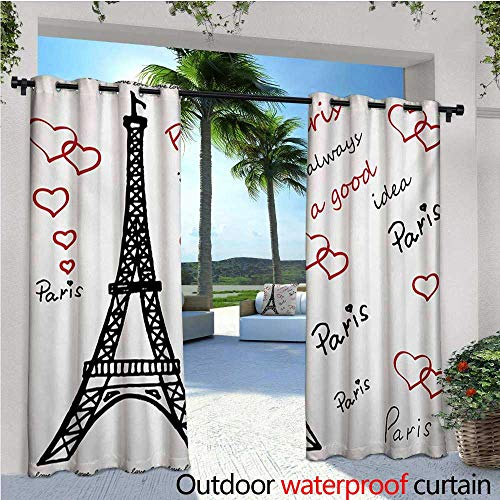 Eiffel Tower Outdoor- Free Standing Outdoor Privacy Curtain Eiffel Paris is Always a Good Idea Tourism Locations Love Valentines for Front Porch Covered Patio Gazebo Dock Beach Home W108 x L84 Red