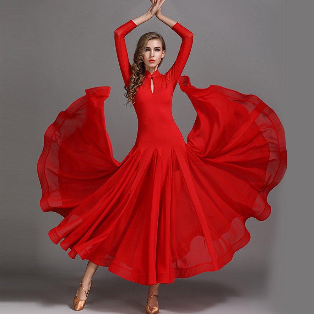 モダンな女性の大きな振り子チャイナカラーモダンダンスドレスタンゴとワルツダンスドレスダンスコンペティションスカート長袖雪紡績ドレスダンスコスチューム B07HHW15DM Small|Red Red Small