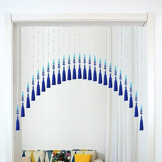 GuoWei-Cortinas de Cuentas Vaso Cristal Perlas Borla Colgantes Puerta Separador de Ambientes Decoración Salón Retrete Balcón, Personalizable (Color : Blue, Size : 35 strands-110x90cm): Amazon.es: Hogar