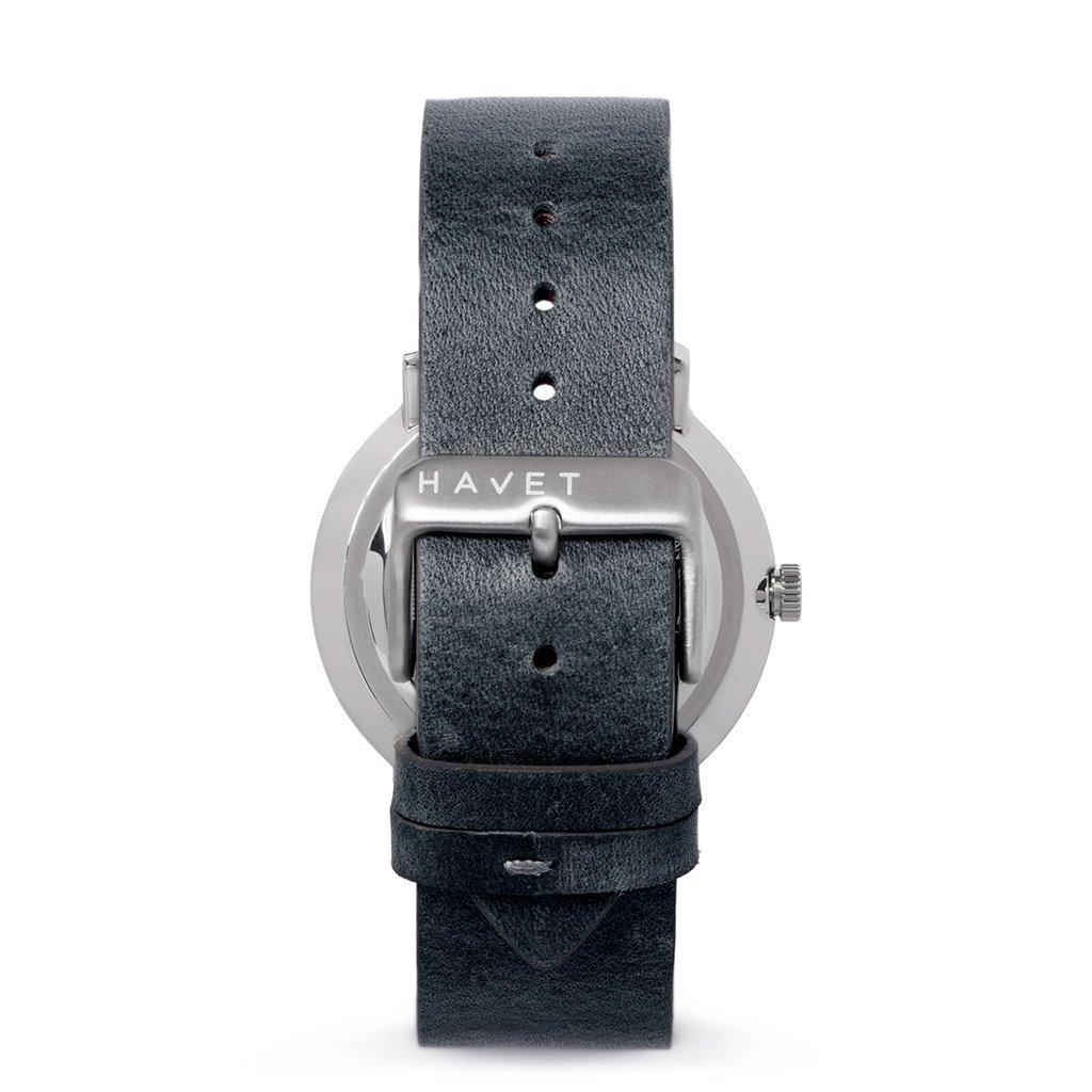 HAVET | Reloj de hombre Barents reloj de acero con esfera azul y correa piel gris: Amazon.es: Relojes