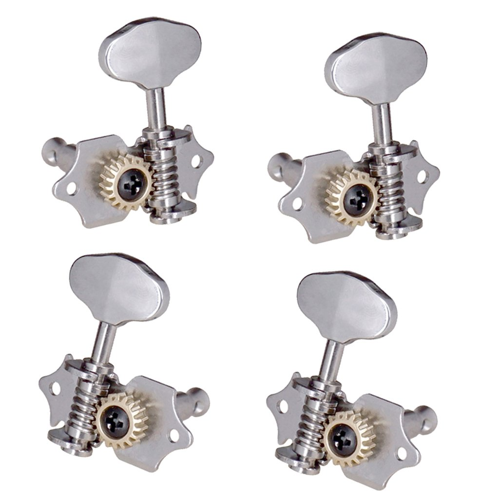 Baoblaze Durable 4PCS Open Ukulele Uke Replacement Tuning Pegs Tuning Keys Through String 2L+2R - Silver, 2 with Through String Hole