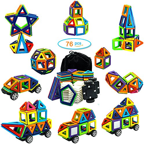 Raresite Magnetic Toy 76 Pieces 3D Magnetic Building Blocks Preschool Educational Toys Gifts Set for Kids Toddlers Learning Colors Shapes Parents Best Choice by Raresite