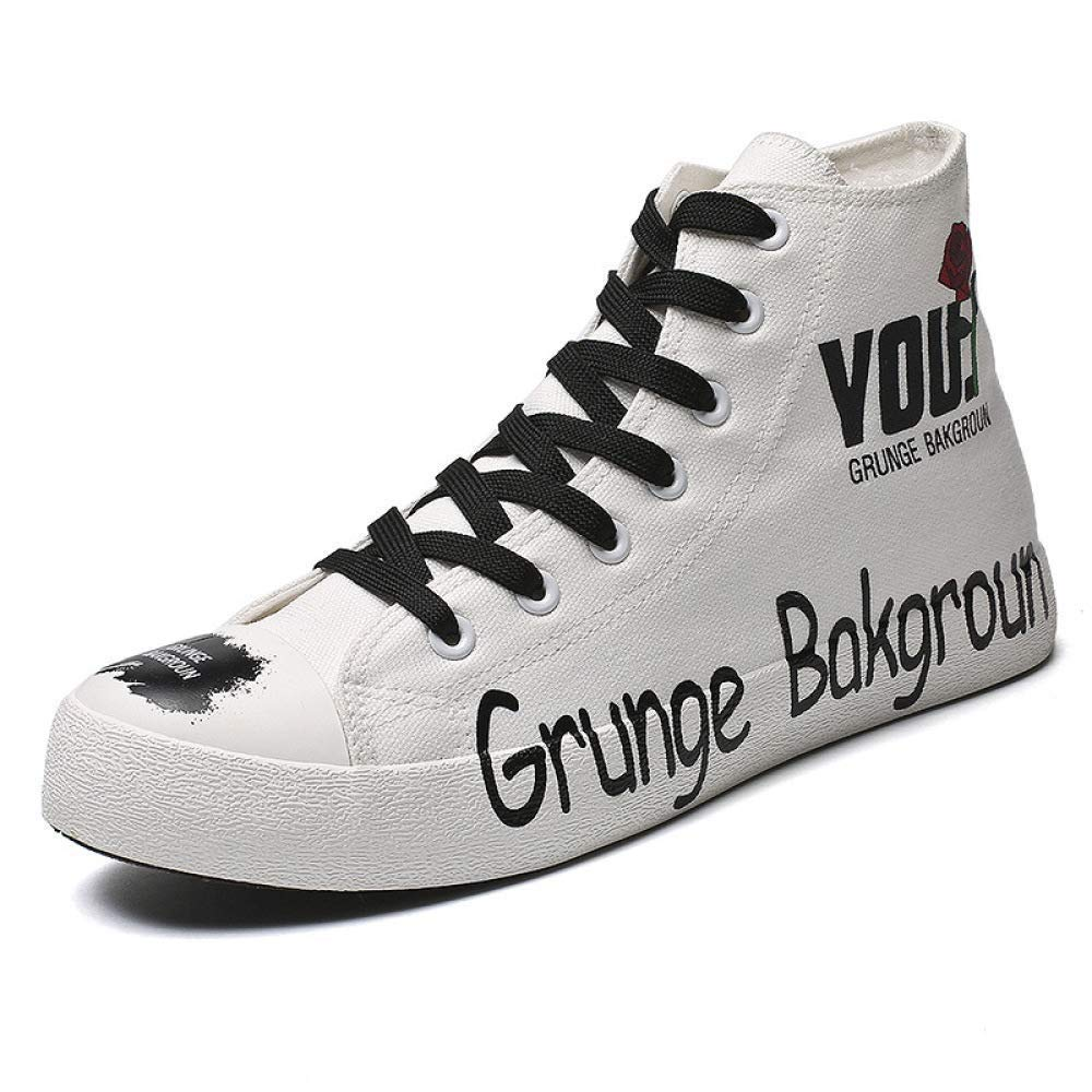 HhGold Männer High-Top-Segeltuchschuhe Hip-Hop-Street-Dancer-Schuhe schnüren Sich Board Schuhe Turnschuhe (Farbe   Schwarz, Größe   8UK(Foot Length 27cm))  | Verschiedene Stile und Stile