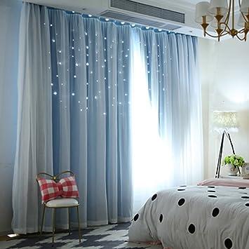 UEB Rideaux Salon de Fenêtre Ombrage étoile Cachée Purdah à la Maison  Chambre à Coucher pour Enfant Adulte Rideau Occultant Rideau Voilage 100 *  200 ...