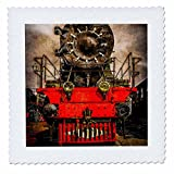 3dRose Alexis Photography - Transport Railroad - Old powerful steam locomotive. Back from the farness. Stylized photo - 14x14 inch quilt square (qs_270616_5)