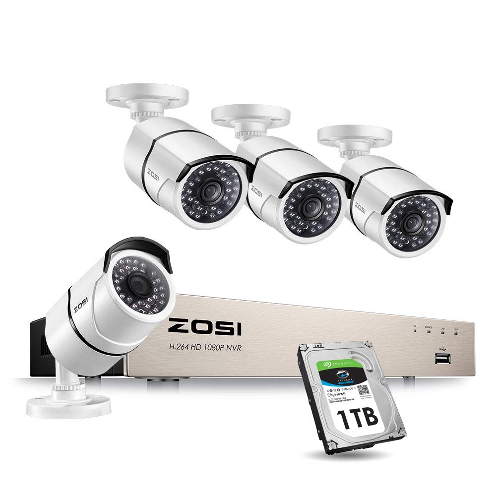 ZOSI 1080P PoE Home Security Camera System,8CH 1080p CCTV NVR Recorder with 1TB Hard Drive and (4) 2MP 1920TVL Indoor Outdoor Weatherproof PoE IP Cameras with 100ft Night Vision for 24/7 Recording by ZOSI