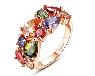 Dixey Luxury Anillos de Oro Laminado 18K Unique Design Mona Lisa Ring AAA Colorful Cubic Zircon
