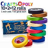 CraftsOpoly Colored Masking Tape Painter Packing Tape [12 Rolls of 60.1 Yds Rainbow Colors] Fun DIY Art Supplies For Kids, Adults, Artists Crafts Moving, Office and Decorating