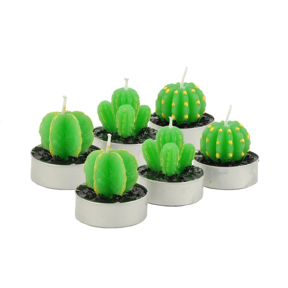 TINGOR Decorative Cactus Candles TeaLight Candles Quality Cactus Tealight Candles Tea Light Candle Holder Handmade Delicate Succulent Cactus Candles for Birthday Party Wedding Spa Home Decoration TINGOR.INC