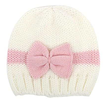 b7543d182 timeracing Fashion Cute Newborn Baby Girl Infant Winter Hat Warm Knitted  Beanie Cap Color Block Bowknot Newbaby Gift (White + Pink)