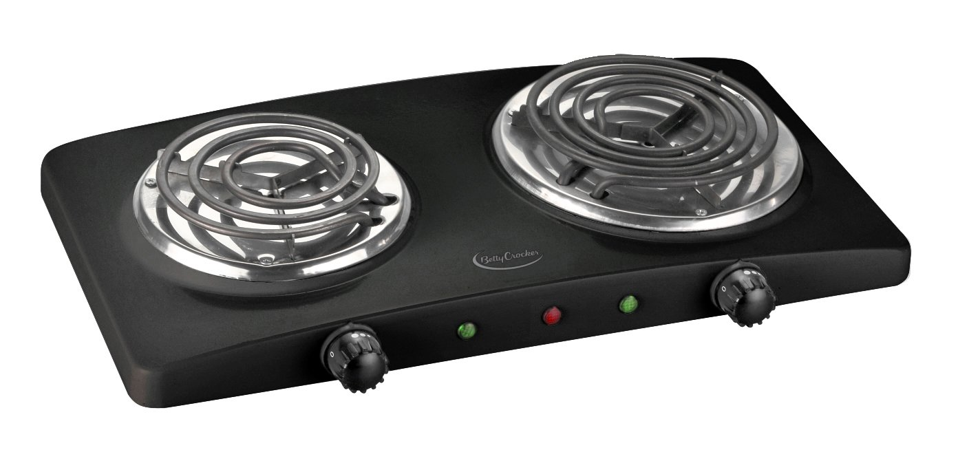 Betty Crocker BC-2591CB Portable Dual Electric Burner, Black