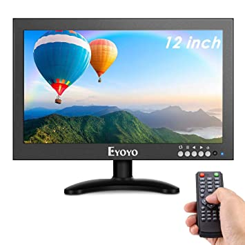 Eyoyo 12 Pulgadas IPS Monitor,1366x768 HDMI CCTV Monitor Carcasa de Metal LED Pantalla con Soporte de Pared & Control Remoto & Entrada de ...