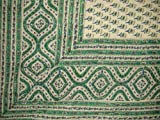 Block Print Indian Tapestry Cotton Bedspread 108'' x 88'' Full-Queen Green