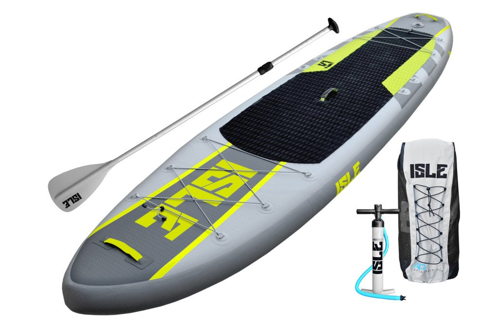 ISLE 11' Airtech Inflatable Explorer Stand Up Paddle Board (6'' Thick) iSUP Package | Includes Adjustable Travel Paddle, Carrying Bag, Pump