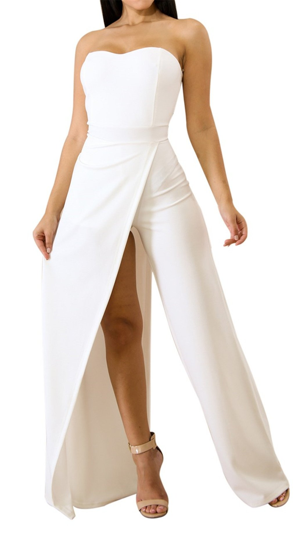 Acelitt Womens Off Shoulder Sleeveless Asymmetric Split Leg Strapless Jumpsuit Rompers White Large