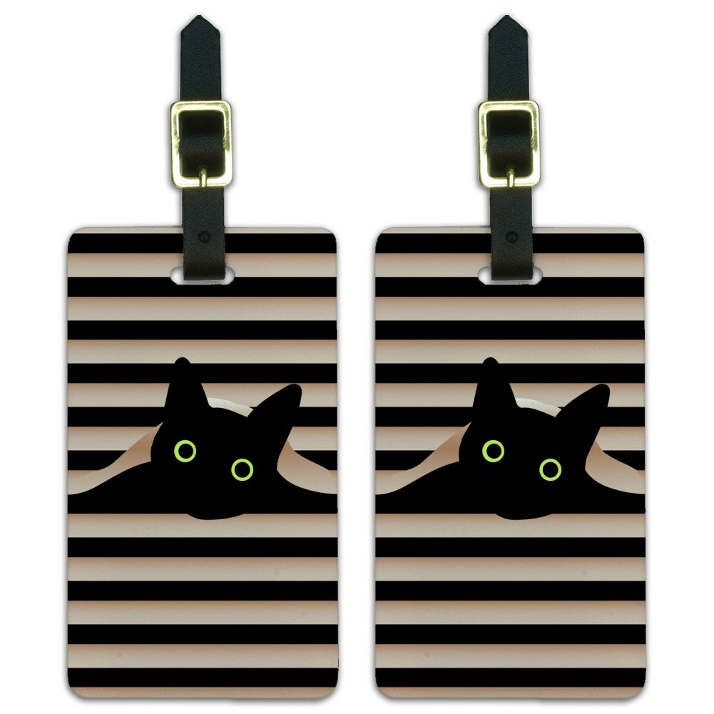 d8e597c27ed2 Black Cat In Window Luggage ID Tags Suitcase Carry-On Cards - Set of 2