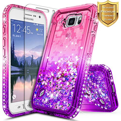 Galaxy S6 Active Case w/[Tempered Glass Screen Protector], NageBee Glitter Liquid Quicksand Waterfall Flowing Sparkle Bling Diamond Girls Cute Case for Samsung Galaxy S6 Active (G890) -Pink/Purple