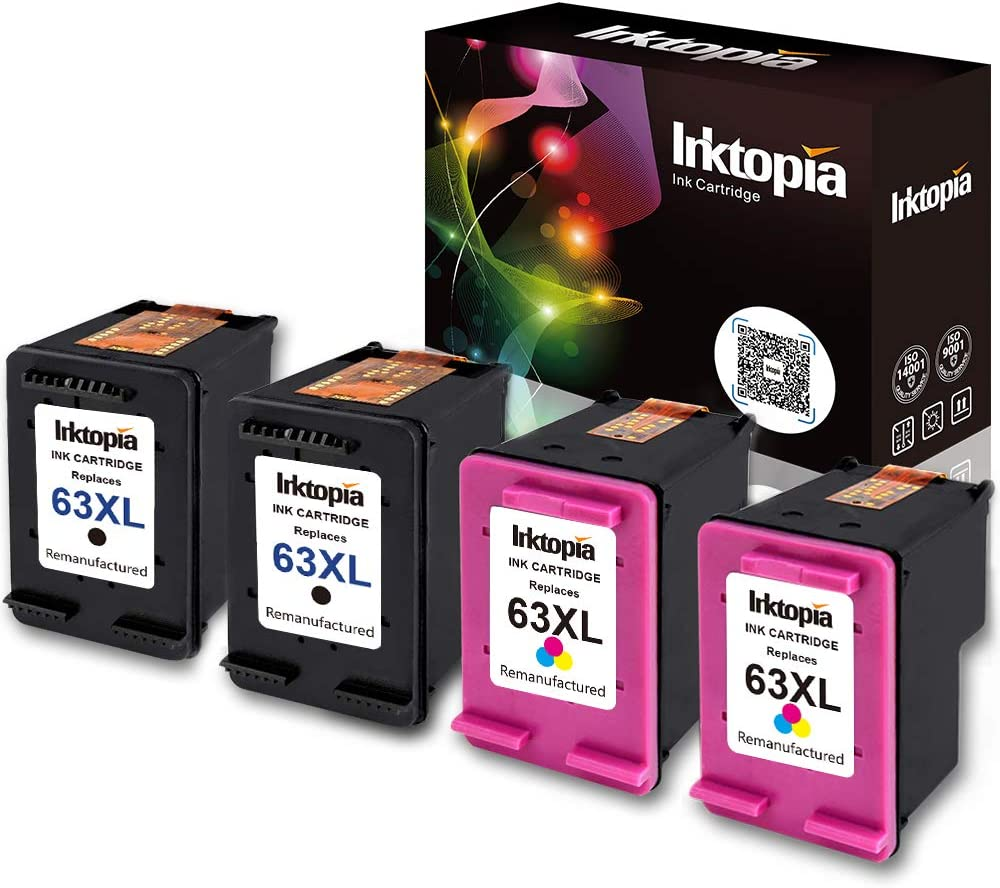 Inktopia Remanufactured Ink Cartridge for HP 63XL 63 XL Updated Chip Compatible with Officejet 4650 5255 5258 3830 3833 4655 Envy 4520 4512 4516 Deskjet 1112 2130 High Yield 2 Black 2 Tri-Color