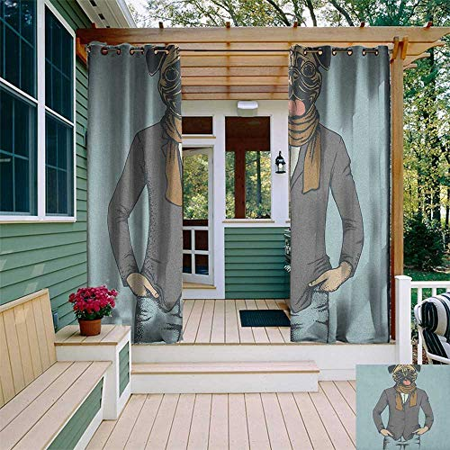 leinuoyi Pug, Outdoor Curtain Wall, Abstract Image of a Dog with Human Proportions with Jacket Scarf and Jeans Absurd, Balcony Curtains W84 x L96 Inch Taupe Brown Blue ()