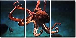 "O-2 /& 3 Octopus Aquarium Wall Decor Life-like Poly resin 3-D Raised Details 6/"""