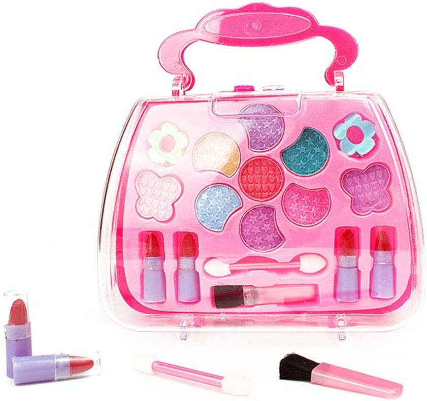 TiTa-Dong Kids Makeup Set,Pretend Makeup Dress Up Play Vanity Kit Safety Tested Washable Realistic Makeup Toys Cosmetic Set Lipstick Nail Polish with a Carrying Case Gift for Girls
