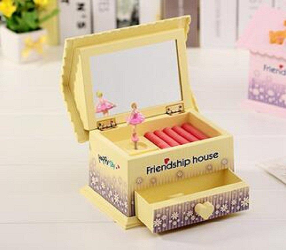 経典ブランド Hua Rui Musical Hua Jewelry Box with Dancingバレリーナ、ペットと花デザイン Jewelry cm、少女のストレージケース 17.0×11.0×14.0 cm ピンク B01G7EHZB4 イエロー イエロー, A-ONE:417b7e39 --- arcego.dominiotemporario.com