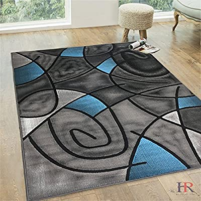 Handcraft Rugs Abstract Area Rug Circles and wave design pattern Modern Contemporary. (8x10, Blue)