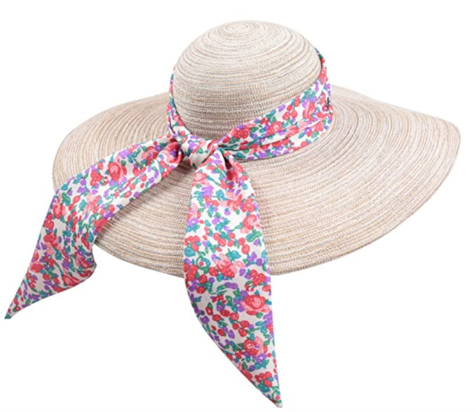 Home Prefer Women s Wide Brim Caps Summer Beach Straw Hats with Bow UPF50+ Sun  Caps ( ece5b717b7e3