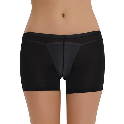 7786eec9adb7 iEFiEL Women Lingerie See-Through Sheer Boyshort Underwear Close Open  Crotch Black One Size