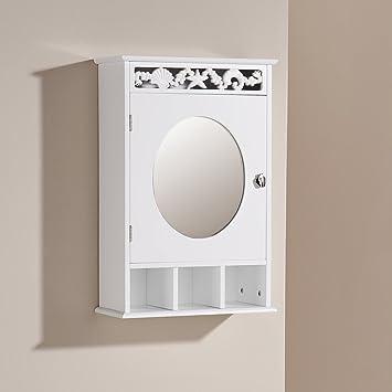 Bathroom Wall Cabinet White 1 Door Cupboard Mirror Storage Coral ...