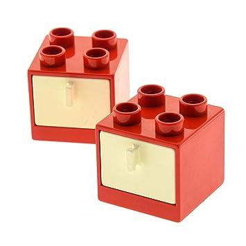 2 x Schrank Schub rot weiß Schlafzimmer Badezimmer Bad Möbel Lego ...