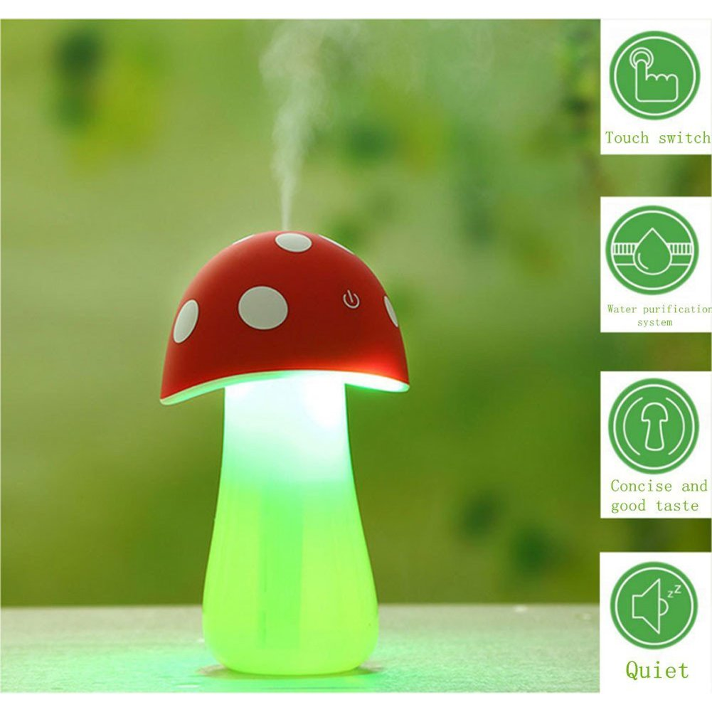 Topbeu Creative Mushroom Shape Ultrasonic Cool Mist USB Baby Room Bedroom Spa Car Humidifier with Auto Shut-off Function (Red) by Topbeu (Image #2)